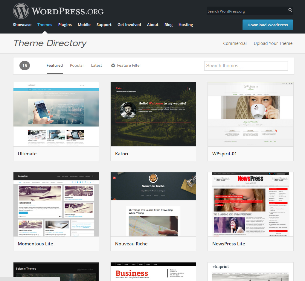 webdesign wordpress catalogue