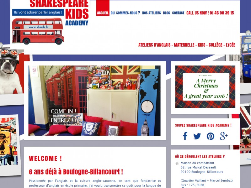 shakespeare kids academy cours anglais enfant boulogne